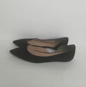 J. Crew G0891 Audrey Flats In Suede Black Size 8.5